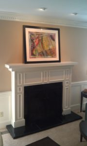 Custom mantelpiece built by Ryan in Louisville, KY. CustomBuilt-InCabinets.com