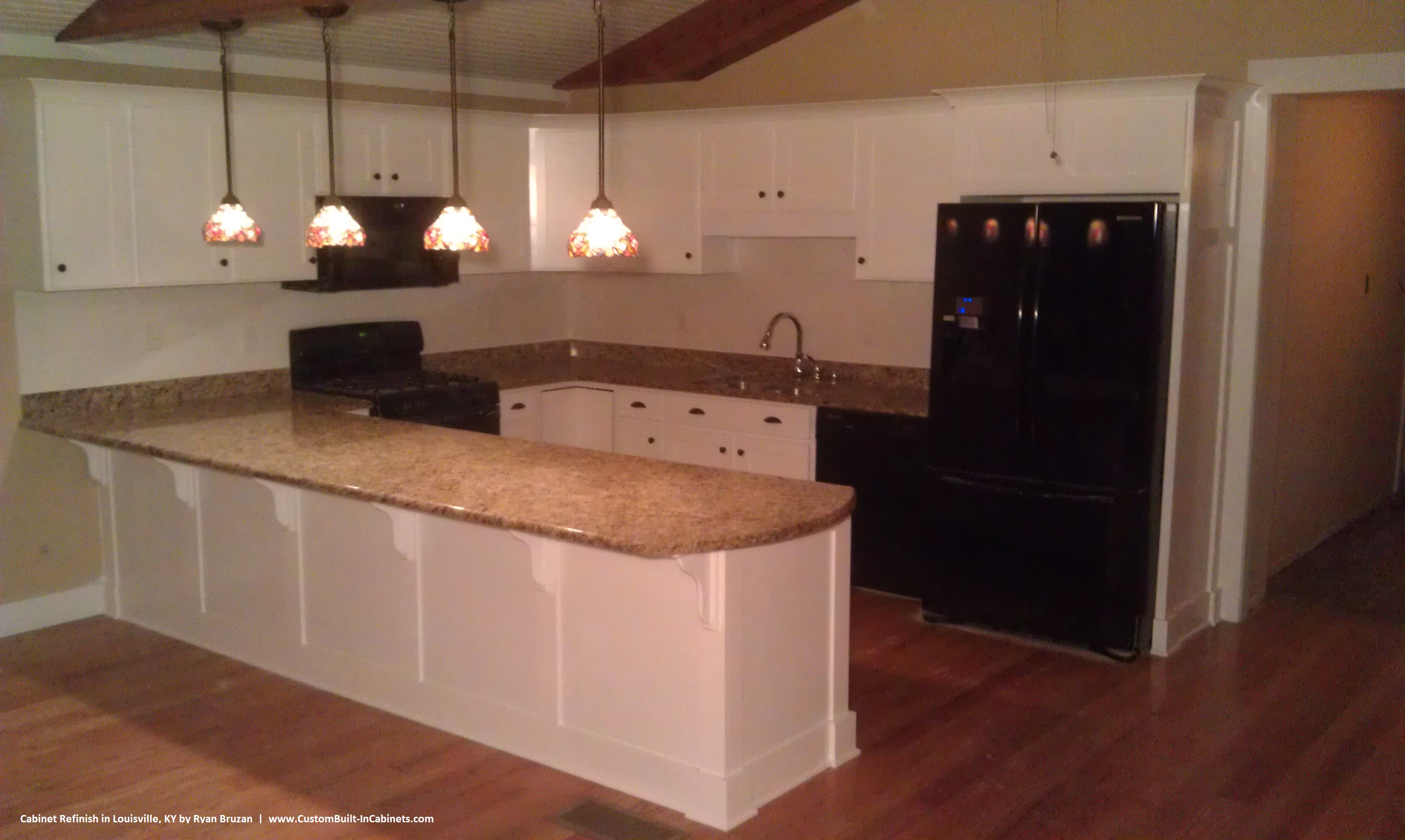 Refinished cabinets with white lacquer in Louisville, KY