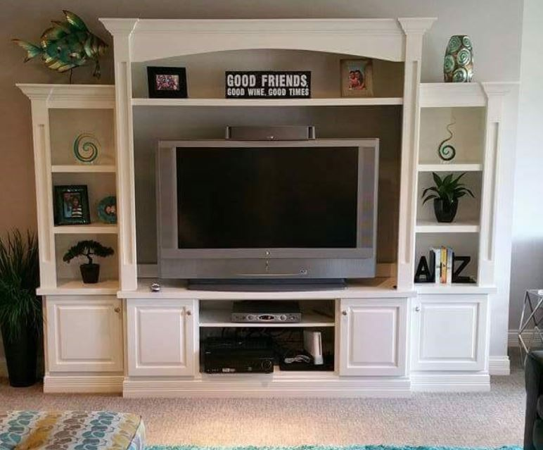 Six piece modular custom entertainment center by Ryan Bruzan In Lake Forest, Louisville, KY. Painted white umber.